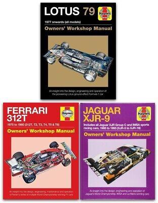 Haynes Manual 3 Books Collection Set (Lotus 79, Ferrari 312T, Jaguar XJR-9)