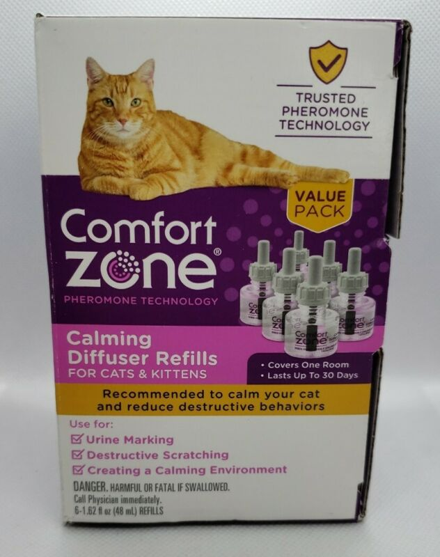 Comfort Zone Pheromone Technology Calming Diffuser Refills for Cats (6 pack)