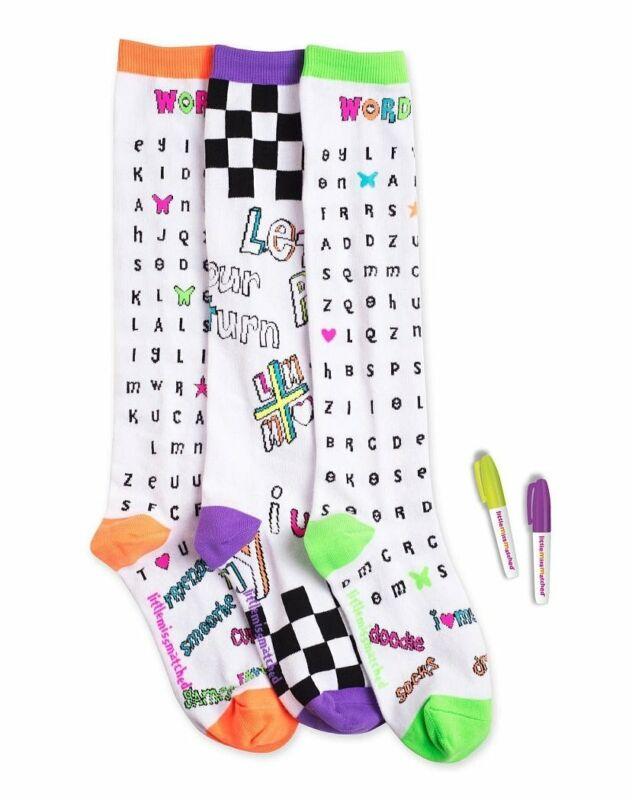 LittleMissMatched Colorize Knee High Sock Set - Word Search.