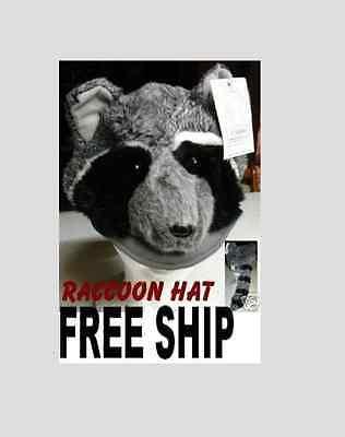 RACCOON HAT furry halloween COSTUME plush ADULT daniel boone cap badger FAST SHP - Badger Halloween Costume