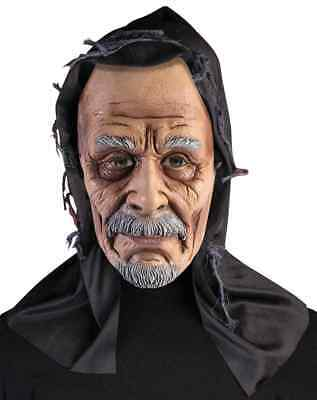 Old Man Hooded Mask Ghoul Scary Fancy Dress Up Halloween Adult Costume Accessory
