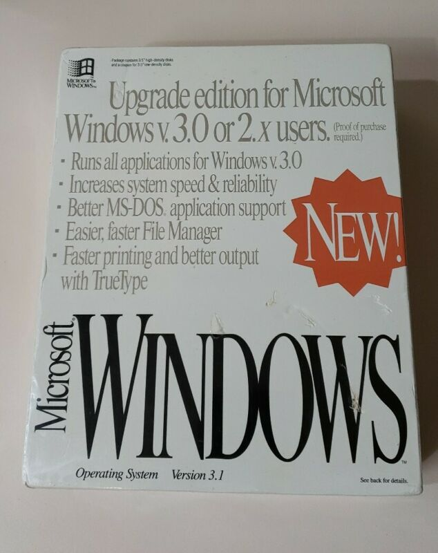 "Vintage Sealed MICROSOFT WINDOWS 3.1 Upgrade Edition - 3.5"" Disks"