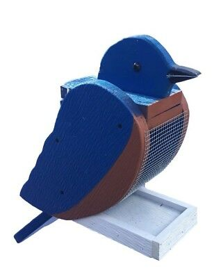 Hanging BLUE BIRD Shaped Bird Feeder & Clean Out-  Amish Made in USA