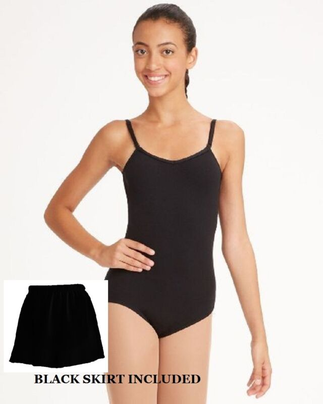 Bloch CL5407 Black Child Small (4-6) Camisole Leotard Tan Footed Tights & Skirt