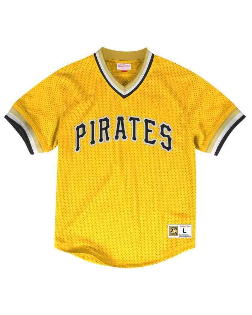 the best attitude a8c95 2b4d1 Details about MITCHELL & NESS Pittsburgh Pirates Yellow V-neck MESH JERSEY  MLB