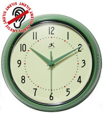 Classic 1950S Style Wall Clock Retro Kitchen Garage Workshop Metal Round Vintage