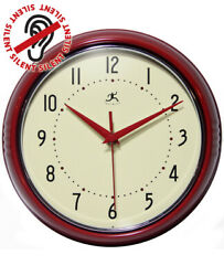 Round Retro 9.5 Inch Analog Vintage Wall Clock Silent Infinity Instruments