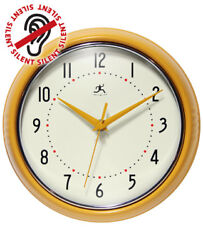 Yellow Round Retro Wall Clock Vintage 50s Kitchen Clock 9.5 inch