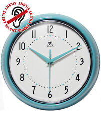 Turquoise Round Retro Silent Analog Kitchen Wall Clock 9.5 Infinity Instruments
