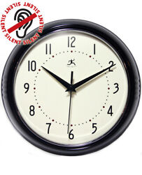 Retro Vintage Black Round Silent Wall Clock 9.5 inch Kitchen Infinity Instrument