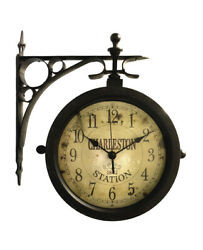 Charleston Side-Mount Double-Sided Indoor/Outdoor Wall Clock and Thermometer