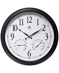 Classic Outdoor Indoor Wall Clock Thermometer Temperature Fahrenheit 24 inch