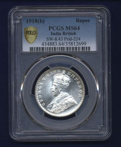 INDIA BRITISH GEORGE V 1918-B RUPEE SILVER COIN UNCIRCULATED CERTIFIED PCGS MS64