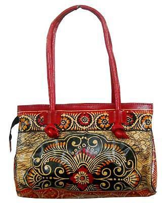 Batik Design Ladies Bag Vintage Shantiniketan 100  Pure Leather Bag