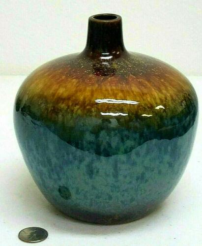 Handmade Glazed Pottery Teal Brown Round Bud Vase MCM Vibe 7 X 7