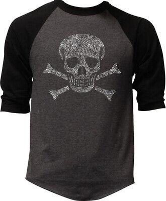 Men's Jolly Roger Skull Charcoal Baseball Raglan T Shirt Pirate flag ship army Jolly Roger Flag T-shirt