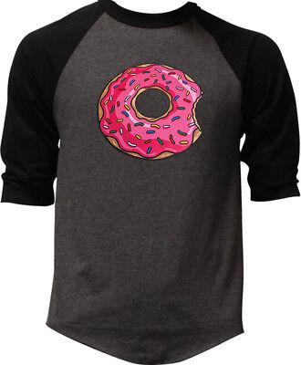 Men's Pink Sprinkles Donut Charcoal Baseball Raglan T-Shirt Doughnut Funny Lit - Baseball Sprinkles