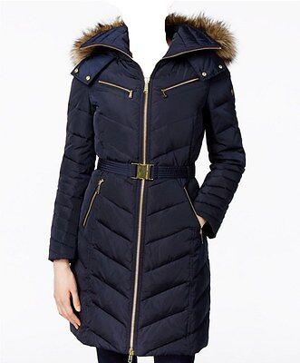 NWT MICHAEL Michael Kors Faux Fur Hood Belted Down Puffer Coat  Navy (M)