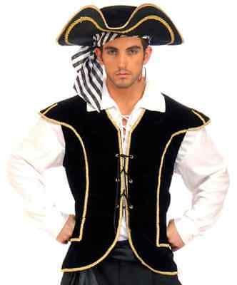 Buccaneer Vest Caribbean Pirate Black Fancy Dress Up Halloween Costume Accessory](Mens Pirate Vest)