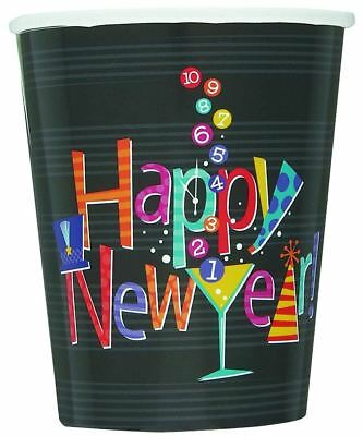 8 New Years Countdown Party Paper Black Cups -Matching Items Available (New Year Decoration Items)