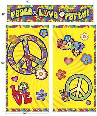 Hippie Decor 60's Decades Retro Woodstock Theme Party Decoration Backdrop Set (60s Theme Party)