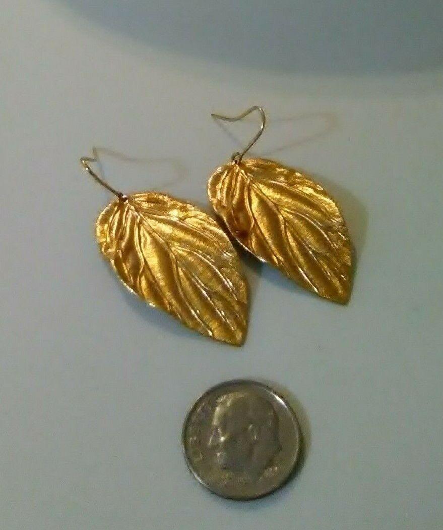 Monet Vintage Pretty Detailed Leaf Gold Tone Pierced Dangling Earrings  - $12.50