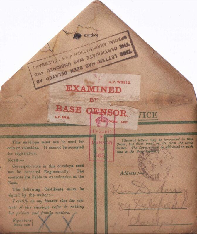 World War I Hand Written Soldiers Letter Home + Envelope 1914-1918 The Great War
