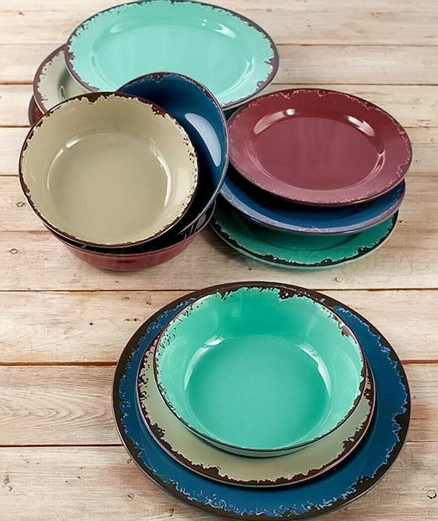 Dinnerware Set Rustic Melamine Bowls Salad Dinner Plates Ant