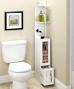 bathroom storage cabinet organizer white space saver 2 shelves 1 drawer storage - Bathroom Cabinets Space Saver