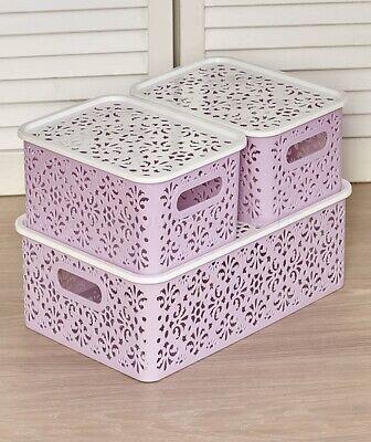 Stackable Lace-Design Make-Up Storage Bins Basket W/ Lids - Lilac Purple 3-Pc (Purple Storage Bins)