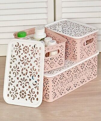 Stackable Lace-Design Make-Up Storage Bins Basket W/ Lids - Blush Pink 3-Pc (Pink Storage Bin)