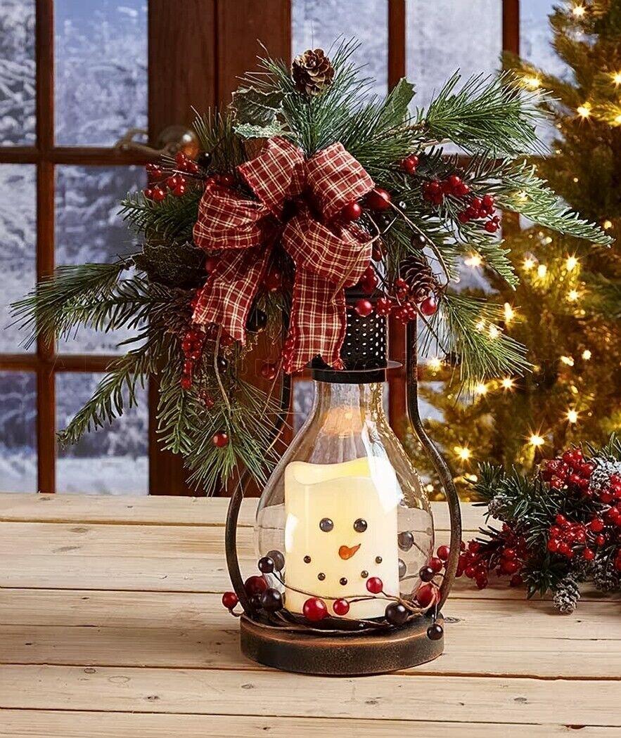 Winter Seasonal Themed LED Snowman Candle Lantern Country Ho