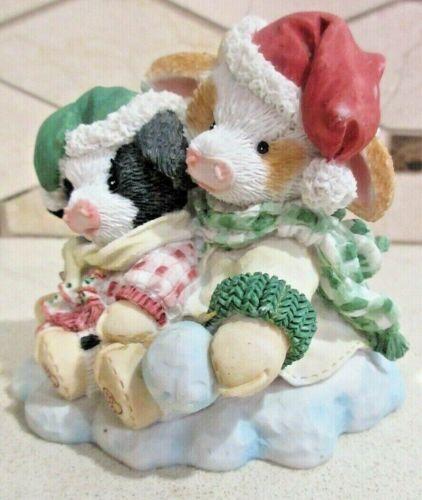 "Enesco Mary Moo Moo 1994 ""Merry Christmoos"" Figurine #651702 Free Shipping"