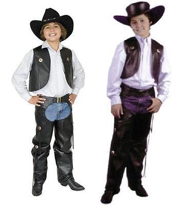 CHILD COWBOY WESTERN COSTUME WILD WEST FAUX LEATHER CHAPS & VEST KIDS BOYS (Cowboy Vest Costume)