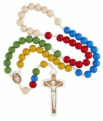 My First Communion Multi-Color Wooden Prayer Bead Laser Engraved Mission Rosary Color Wooden Rosary Wood