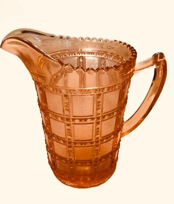 "Rare Beaded Block Depression Glass 6"" Pink Pitcher"