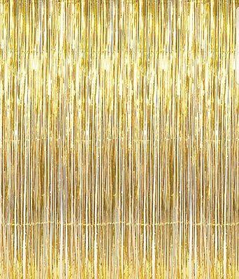 Shiny Gold Metallic Foil Fringe Door & Window Curtain Party Decoration 3' X 8'