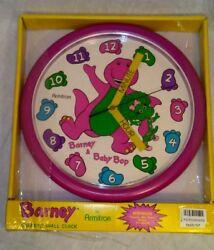 Vtg Barney The Purple Dinosaur Wall Clock Teach Me Time Baby Bop 10 Round 1993