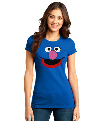 Junior Faces - Sesame Street Grover Face Junior Ladies T-Shirt New