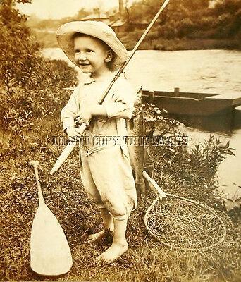 ANTIQUE FISHING REPRODUCTION 8X10 PHOTOGRAPH BOY ROD REEL PADDLE NET WALLEYE (Replica Fish Walleye)