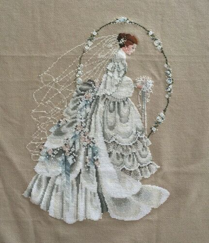 FINISHED COMPLETED LAVENDER & LACE CROSS STITCH THE BRIDE Wedding Beaded