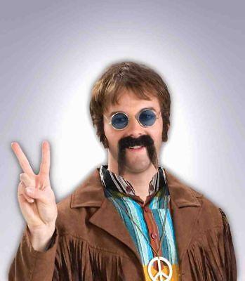 Black Fu Manchu Moustache 60's 70's Fake Mustache 100% Human Hair Stache - Fake Fu Manchu Mustache