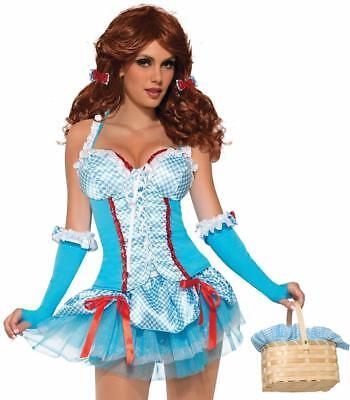 Farm Girl Corset Top Dorothy Fancy Dress Halloween Sexy Adult Costume Accessory