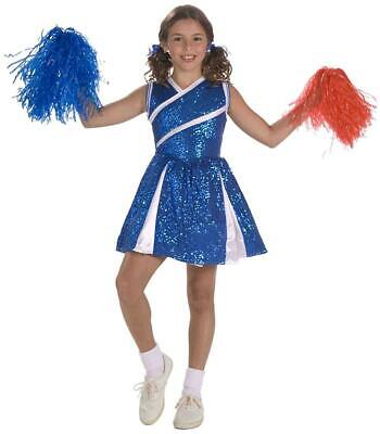 Sassy Cheerleader Girl Blue Sports Fancy Dress Up Halloween Child Costume - Sports Costumes Kids