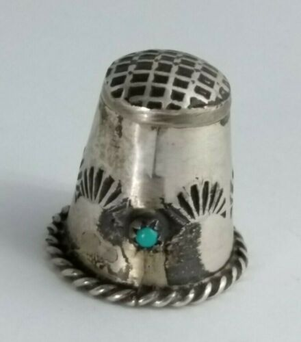 Vintage Solid Sterling Silver Turquoise Thimble