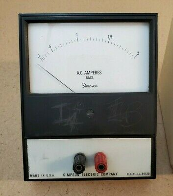 Ac Amperes Simpson Electric Company Analog Volt Meter 0-2 Panel Meter Ac Amps