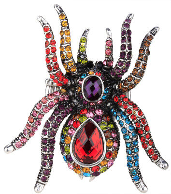 Spider stretch ring silk scarf clasp halloween jewelry gift women silver multi - Spider Rings