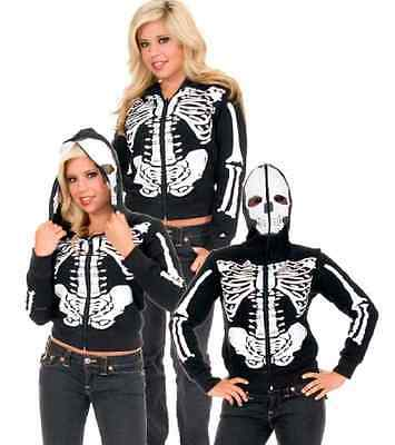 Skeleton Hoodie Skull Fancy Dress Up Halloween Adult Costume Accessory 2 COLORS