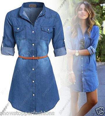 NEW Womens Longline Denim Shirt Dress Ladies Jean Dresses Size 8 10 12 14