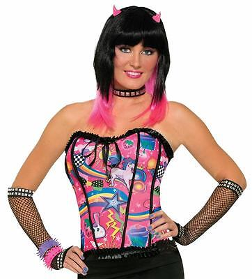 Top 80s Halloween Costumes (Candy Corset Top Rave Party 80's Fancy Dress Halloween Adult Costume)